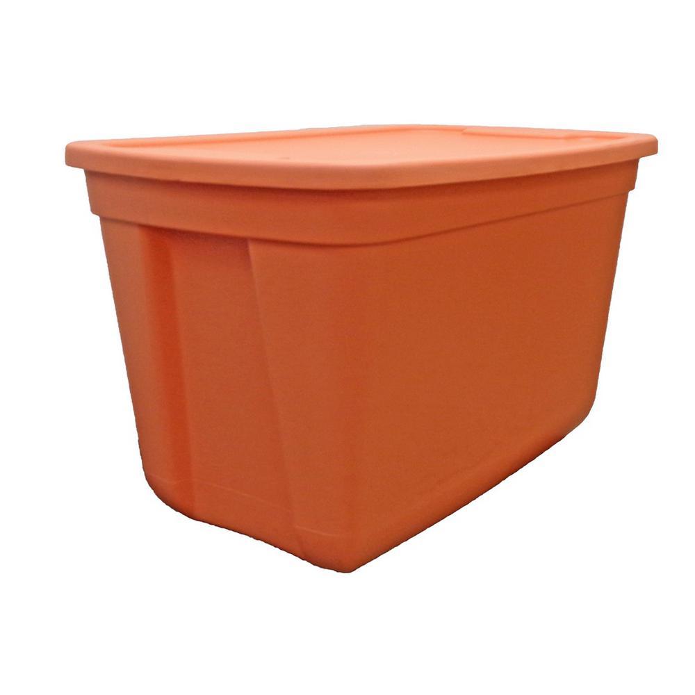 hdx 20 gal storage tote fiesta in orange 2020 4499 the home depot. Black Bedroom Furniture Sets. Home Design Ideas