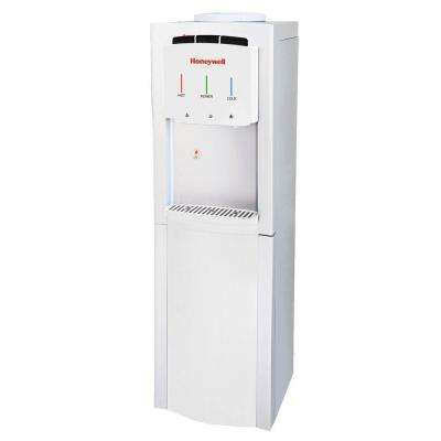 Freestanding Top-Loading Hot/Room/Cold Water Dispenser with Cabinet and Thermostat Control in White