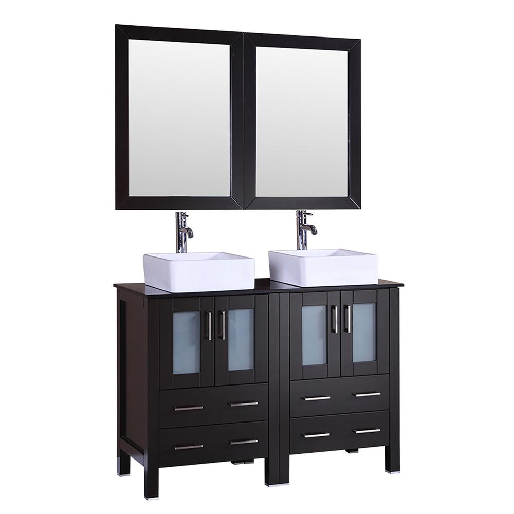 Bosconi 48 in. W Double Bath Vanity with Tempered Glass Vanity Top in Black with White Basin and Mirror