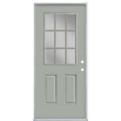 36 in. x 80 in. 9 Lite Silver Cloud Right-Hand Inswing Painted Smooth Fiberglass Prehung Front Door, Vinyl Frame