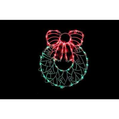 18 in. Lighted Wreath Christmas Window Silhouette Decoration