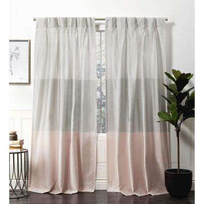 Chateau Blush Room Darkening Triple Pinch Pleat Top Curtain Panel -  27 in. W x 84 in. L  (2-Panel)