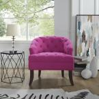 Inspired Home Delilah Fuchsia Linen Armless Barrel Slipper Chair with Button Tufting
