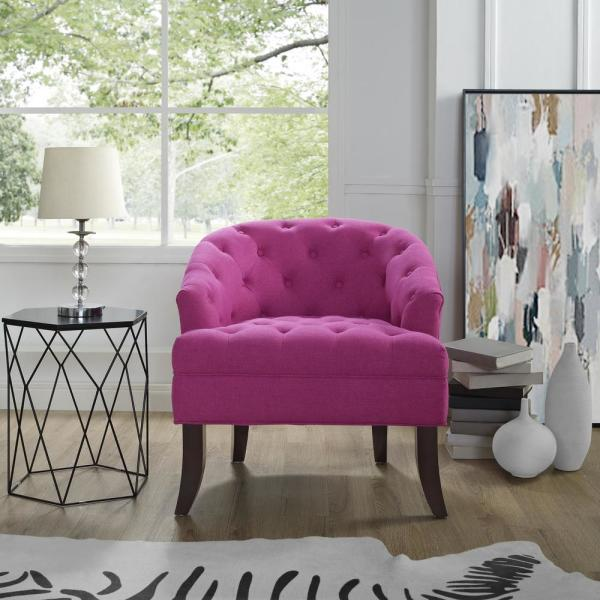 Inspired Home Delilah Fuchsia Linen Armless Barrel Slipper Chair with Button