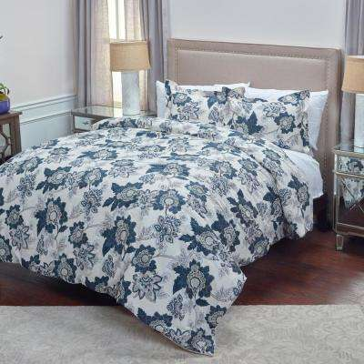 Ivory/Blue Jacobean Floral Pattern 3-Piece King Bed Set