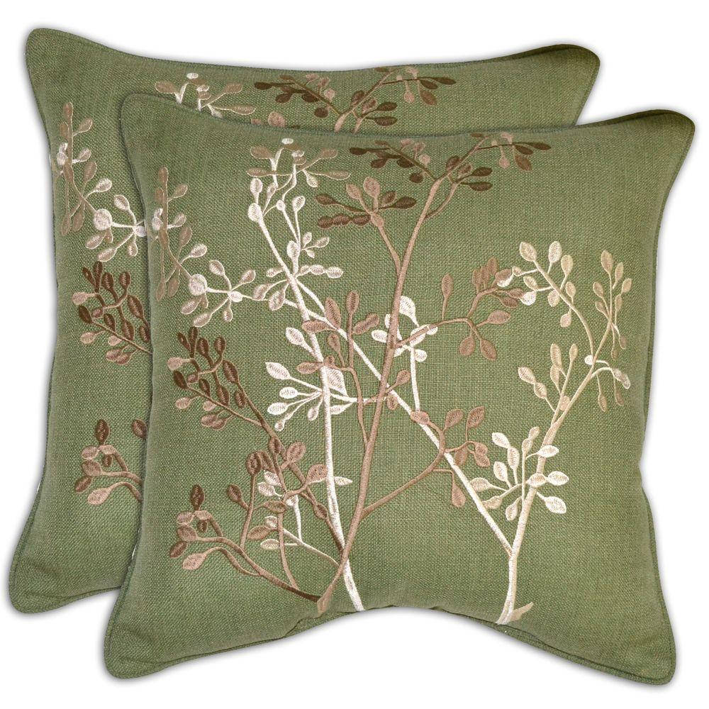 Hampton Bay Green Textured Branches Outdoor Throw Pillow (2-Pack)-DISCONTINUED