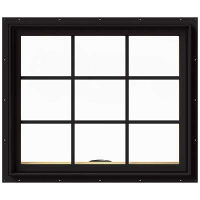 36 in. x 30 in. W-2500 Series Black Painted Clad Wood Awning Window w/ Natural Interior and Screen