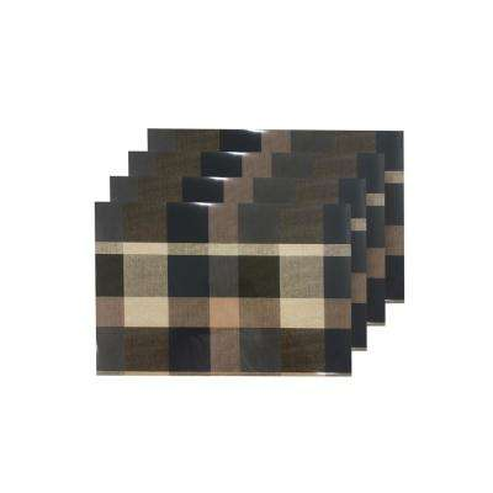 Plaid Blue Reversible Metallic Printed Placemats (Set of 4)