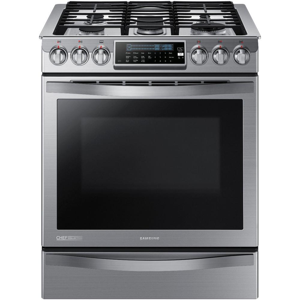 Samsung Chef Collection 30 in. 5.8 cu. ft. Slide-In Gas R...