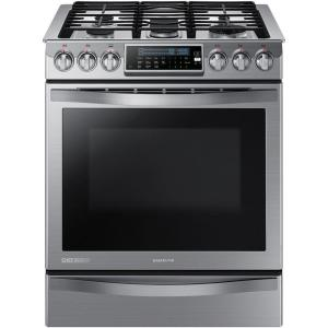 Click here to buy Samsung Chef Collection 30 inch 5.8 cu. ft. Slide-In Gas Range with Self-Cleaning Convection Oven in Stainless Steel by Samsung.