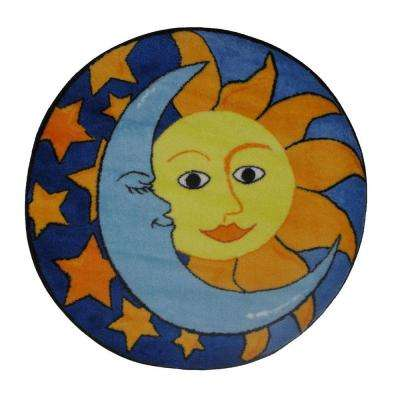 Fun Time Shape Day and Night Multi Colored 39 in. Round Area Rug