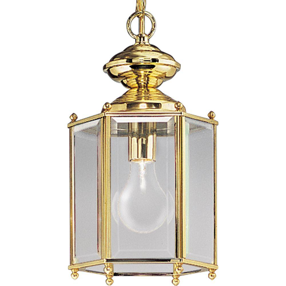 Progress Lighting BrassGUARD Collection Outdoor Hanging Polished Brass Lantern