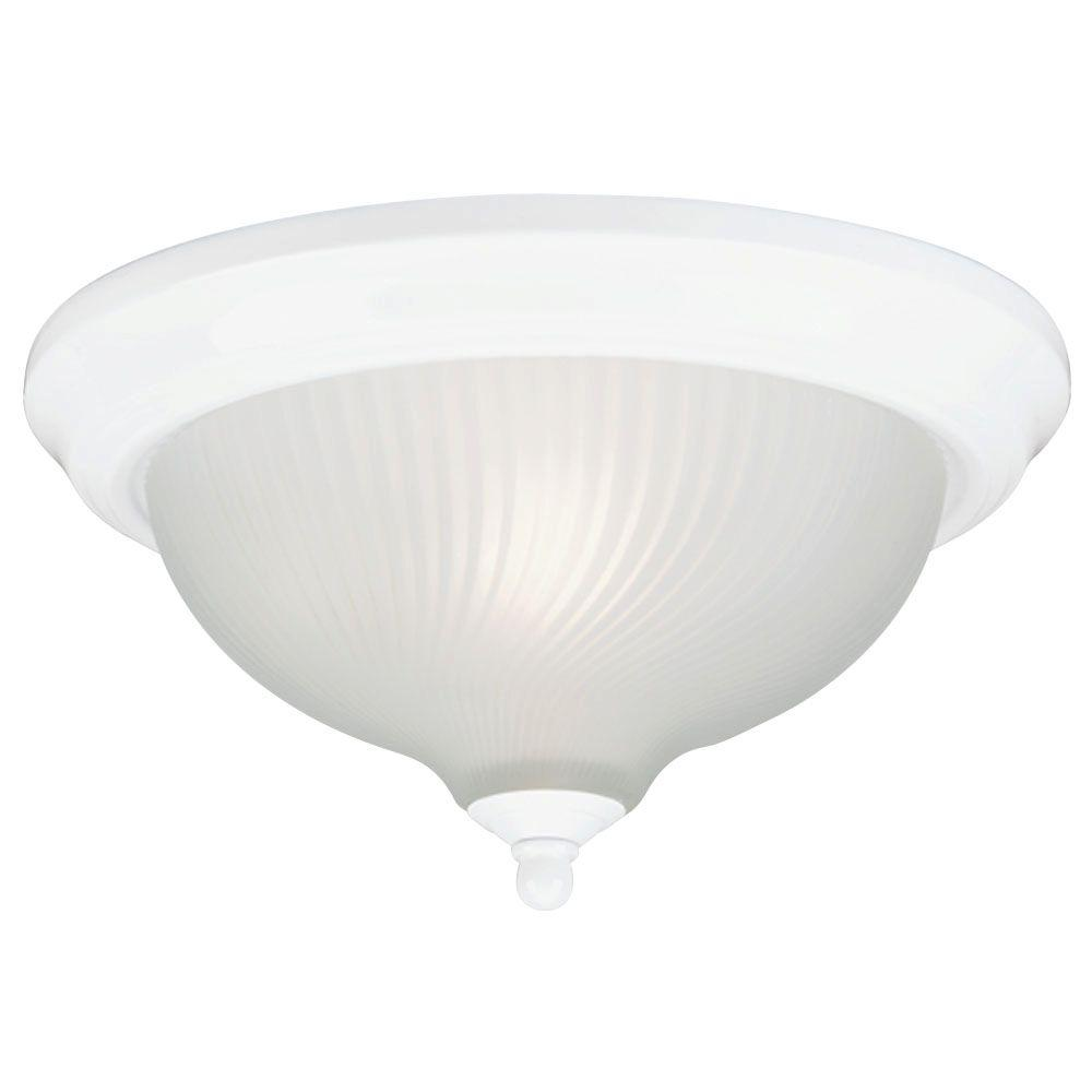 1-Light Ceiling Fixture White Interior Flush-Mount with Frosted Swirl Glass