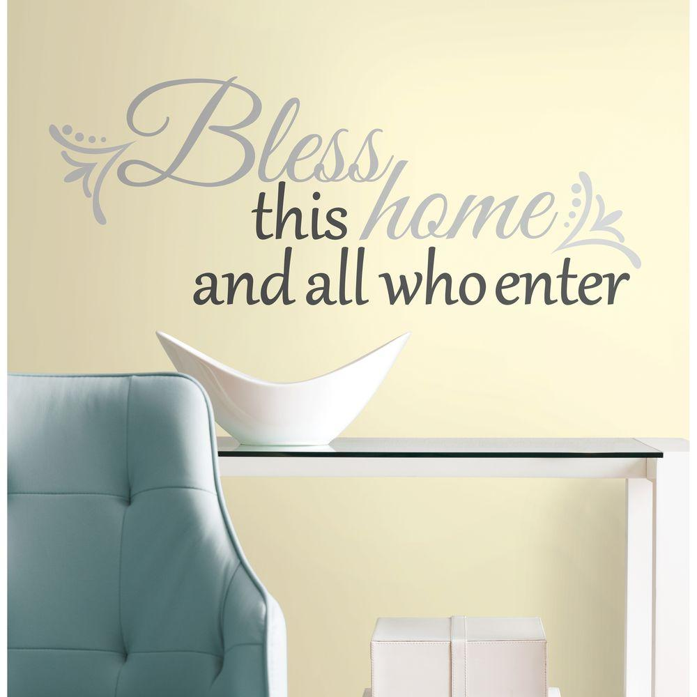 10 in. x 18 in. Bless this Home 25-Piece Peel and