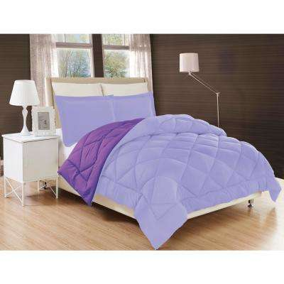 Down Alternative Lilac and Purple Reversible Full/Queen Comforter Set