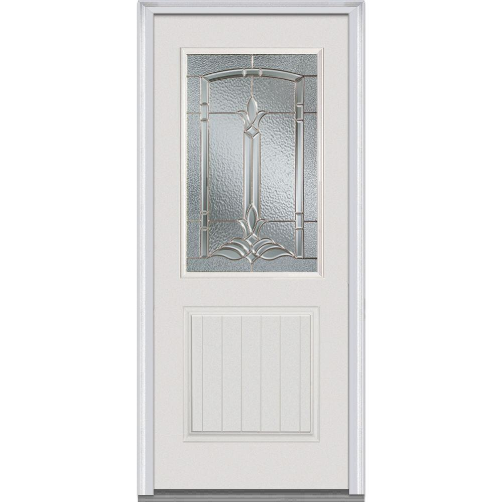 32 in. x 80 in. Bristol Right-Hand 1/2 Lite 2-Planked Panel