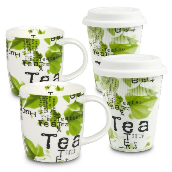 Konitz 4-Piece Assorted Tea Collage to Stay to Go Porcelain Mug