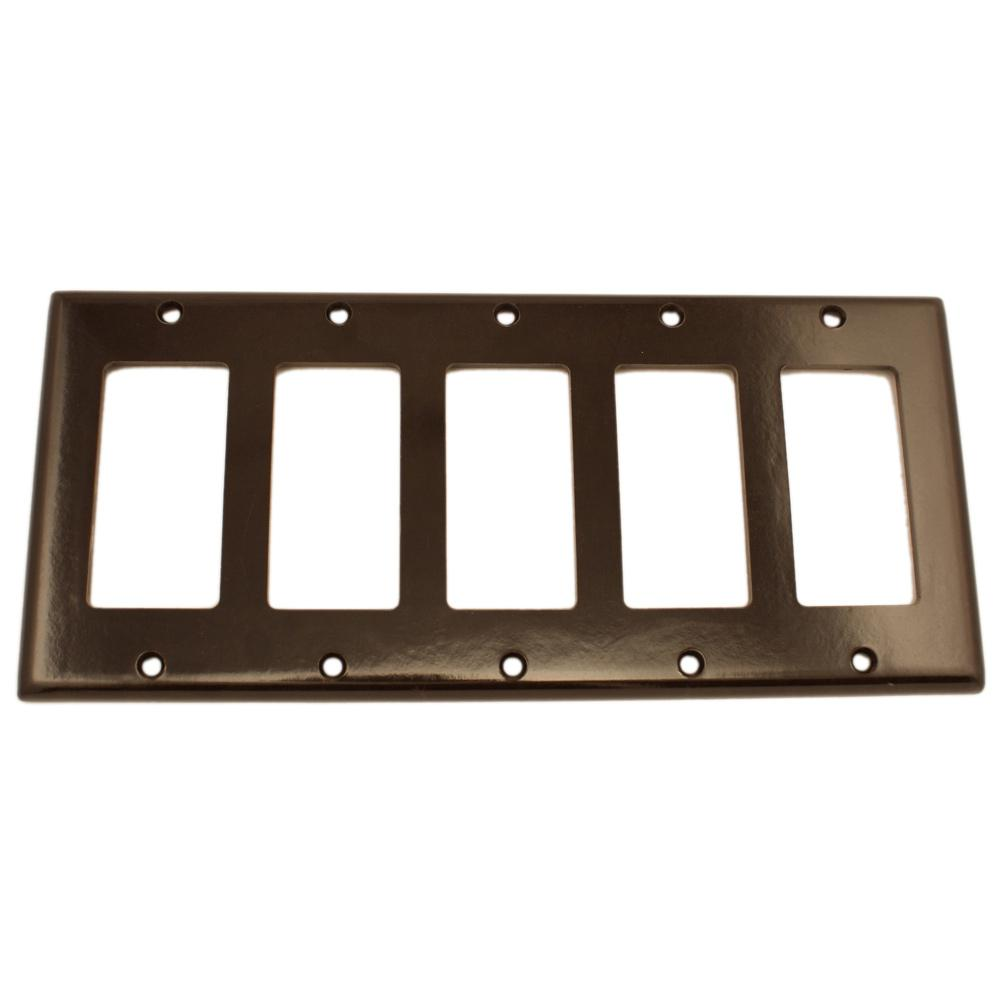 leviton 5gang decora wall plate brown80423 the home depot
