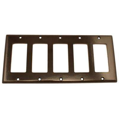 5-Gang Decora Wall Plate, Brown