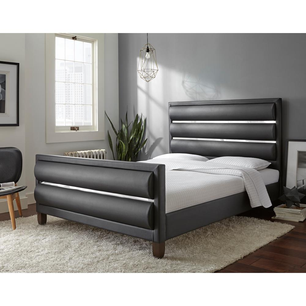 Rest rite alliana black queen upholstered bed hd2a4119qn the home depot for Internet 28717