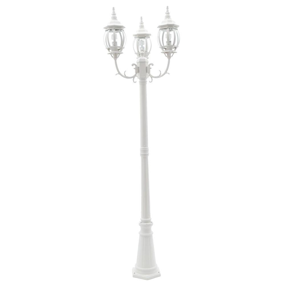 3-Head White Outdoor Post Light
