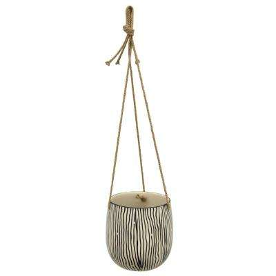 6.5 in. Ceramic Hanging Planter in Black