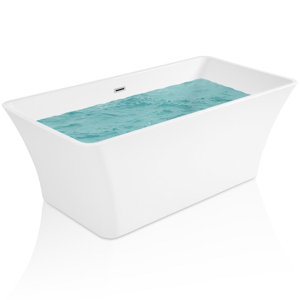66.93 in. Acrylic Center Drain Rectangular Double Ended Flatbottom Freestanding Bathtub in White