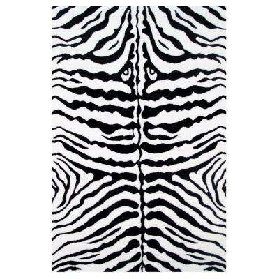 Fun Time Zebra Skin White and Black 3 ft. x 5 ft. Area Rug