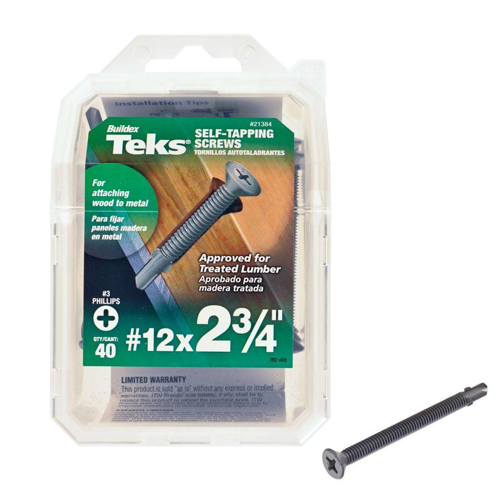 Teks #12 2-3/4 in. Phillips Flat-Head Self-Drilling Screws (40-Pack)