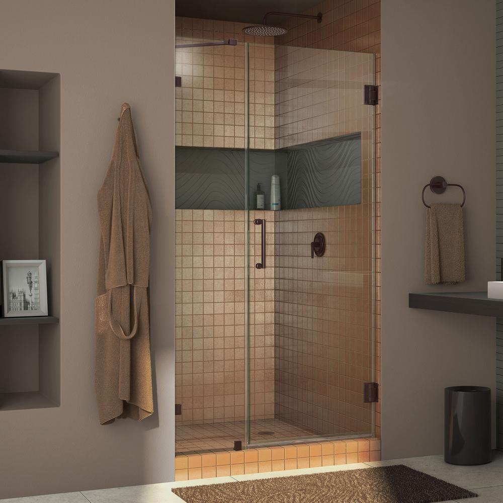 DreamLine Unidoor Lux 46 in. x 72 in. Frameless Pivot Shower Door in Oil Rubbed Bronze with Handle