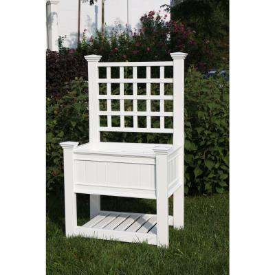 Kingsrow 36 in. x 26 in. White Vinyl Raised Garden Planter with Trellis