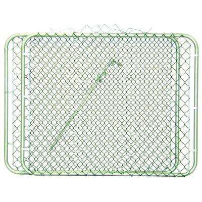 9 1/2 ft. W x 4 ft. H Green PVC Coated Metal Steel Drive-Through Chain Link Fence Gate (2-Panels)