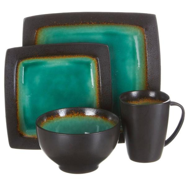 GIBSON elite Ocean Paradise 16-Piece Blue Jade Square Dinnerware Set 98586938M