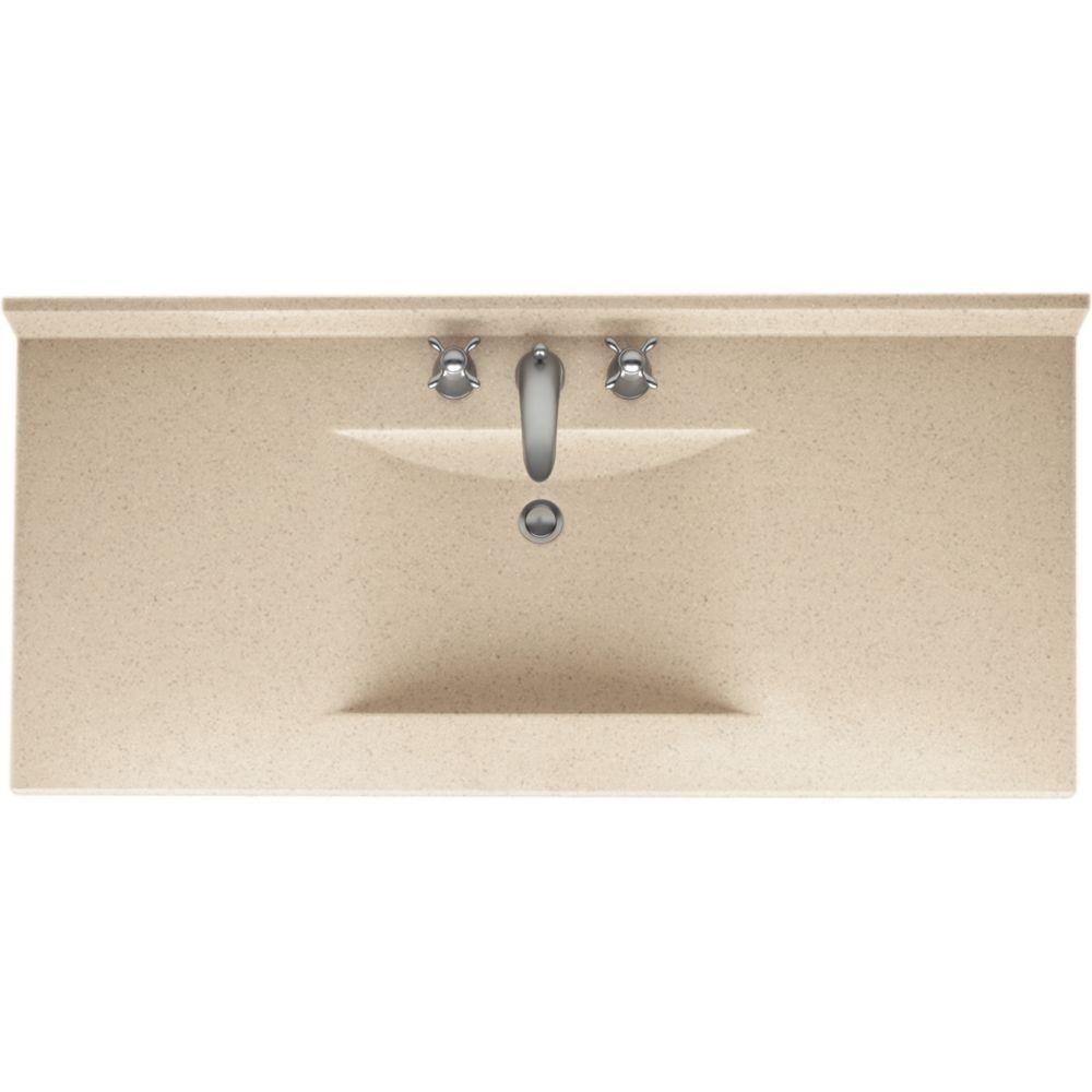 Swan Contour 49 in. W x 22 in. D x 10-1/4 in. H Solid-Surface Vanity Top in Bermuda Sand with Bermuda Sand Basin