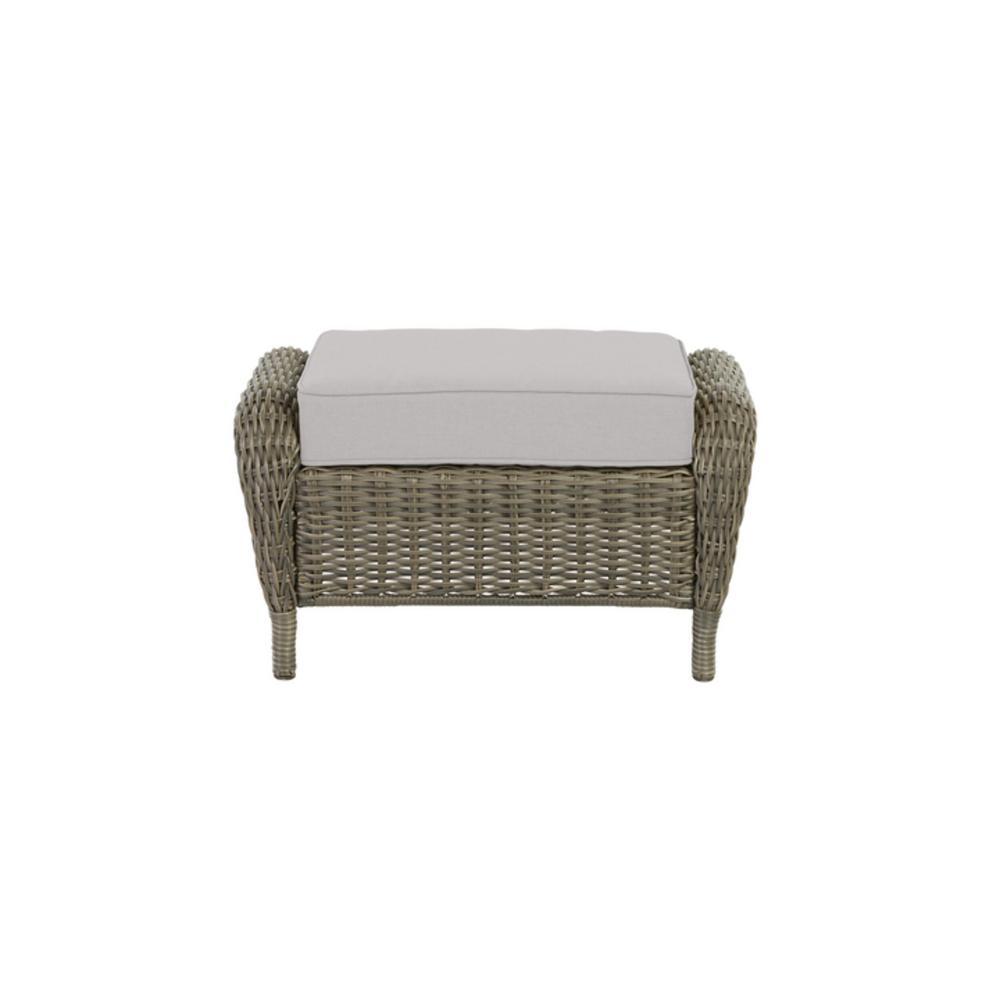 Cambridge Gray Wicker Outdoor Patio Ottoman with CushionGuard Stone Gray Cushions