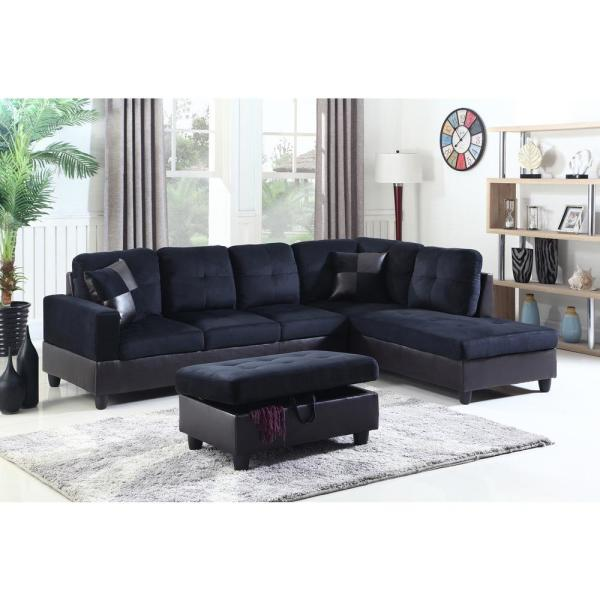 Awe Inspiring Midnight Blue Right Chaise Sectional With Storage Ottoman Download Free Architecture Designs Rallybritishbridgeorg
