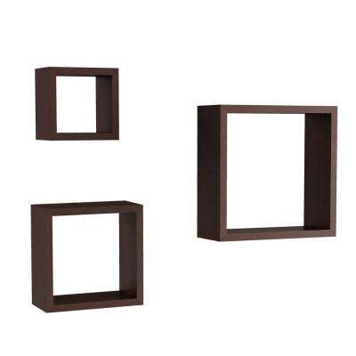 Decorative Floating Cube Wall Shelves in Dark Brown (Set of 3)