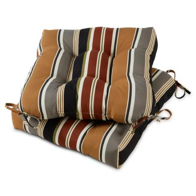 Brick Stripe 20 in. x 20 in. Tufted Square Outdoor Seat Cushion (2-Pack)