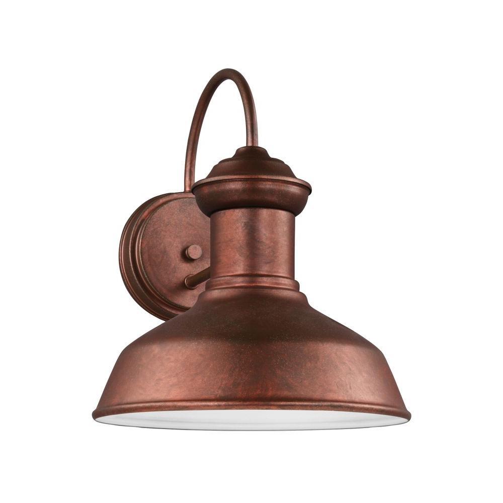Sea Gull Lighting Fredricksburg 1-Light Weathered Copper Outdoor 11.9375 in. Wall Lantern Sconce