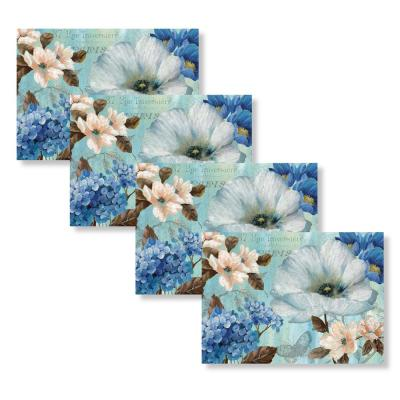French Floral 18 in. W x 13 in. L Polypropylene 4-pack Placemat Set