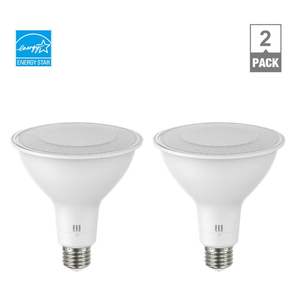 150-Watt Equivalent PAR38 Dimmable ENERGY STAR CEC LED Light Bulb Selectable CCT (2700K-3000K-5000K) (2-Pack)