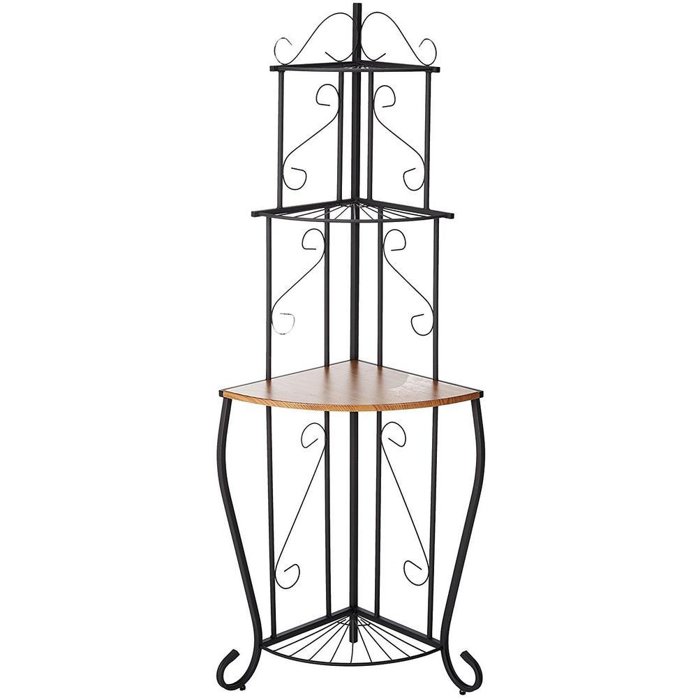 kb furniture black walnut 3 tier corner baker 39 s rack kitchen storage 4203k the home depot. Black Bedroom Furniture Sets. Home Design Ideas