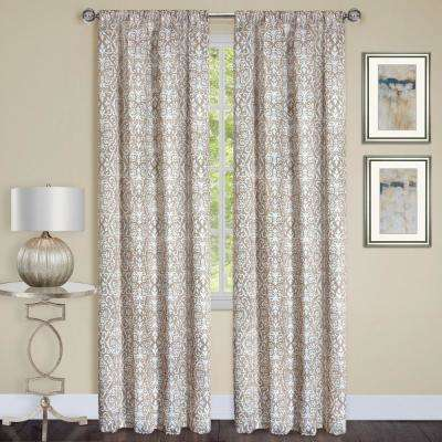Madison Taupe Polyester Rod Pocket Curtain - 54 in. W x 84 in. L