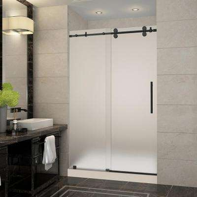 Langham 48 in. x 36 in. x 77.5 in. Frameless Sliding Shower Door with Frosted Glass in Oil Rubbed Bronze and Right Base