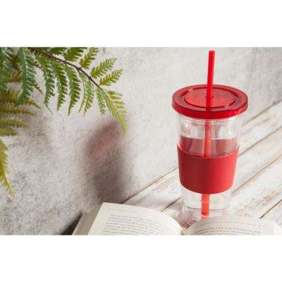 20 oz. Red Plastic Tumbler with Silicone Grip