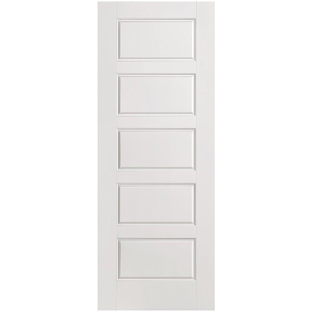 Masonite 28 in. x 80 in. Riverside 5-Panel Left-Handed Hollow-Core Smooth Primed Composite Single Prehung Interior Door