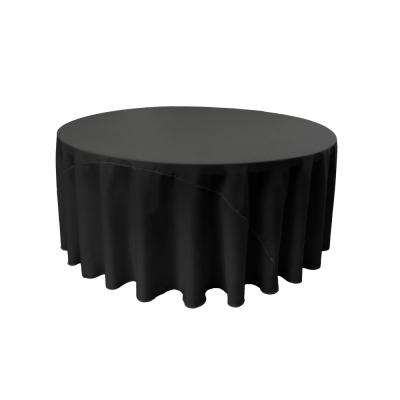 108 in. Black Polyester Poplin Round Tablecloth