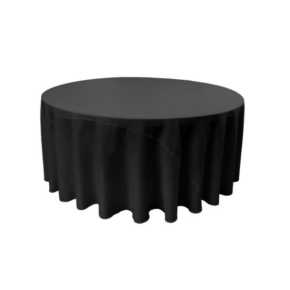 LA Linen 120 in. Black Polyester Poplin Round Tablecloth TCpop120R_BlackP24