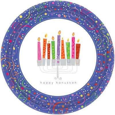 10.5 in. x 10.5 in. Playful Menorah Plates (8-Count, 5-Pack)
