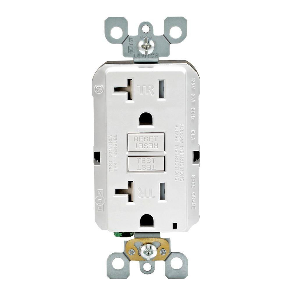 Leviton SmartLockPro 20 Amp Slim Tamper-Resistant Duplex GFCI Outlet (3-Pack) - White